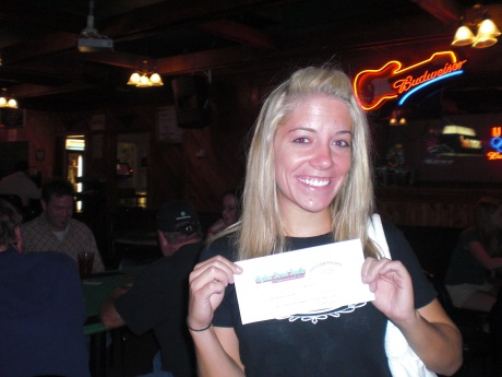 Audrey and her $50 bar tab, which I told her boyfriend he wasn't allowed to share, since he played poker instead of trivia