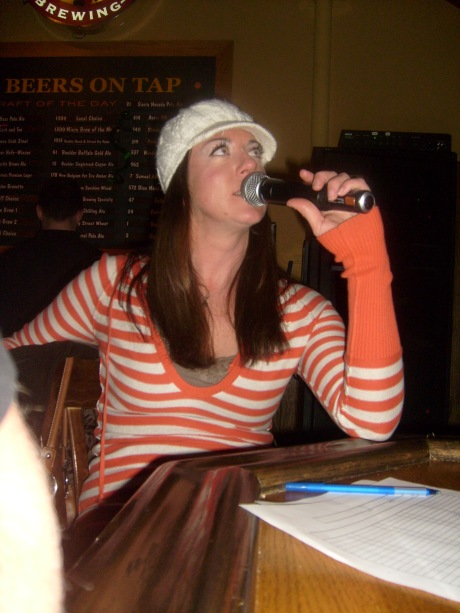 Your stripey trivia host in action.  I am probably messing the score up or something right here.